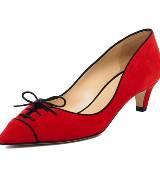 kate spade红色麂皮矮跟鞋
