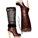 Marni枣红色细带裹饰高跟长靴