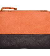 Kookai蔻凯黑橙色拼接手包