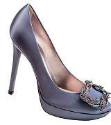 Roger Vivier圣诞金色麦穗系列蓝色高跟鞋