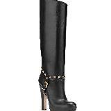 Valentino华伦天奴黑色真皮铆钉长筒靴