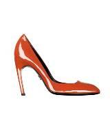 Roger vivier橘红色漆皮高跟鞋