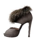爱马仕Hermes山羊皮饰天鹅绒、旱獭皮高跟鞋