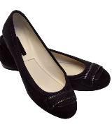 Longchamp黑色麂皮平底鞋