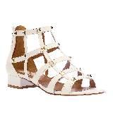 Valentino白色铆钉矮跟凉鞋