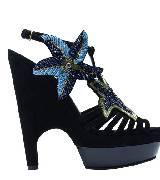 圣罗兰YSL黑色皮质凉鞋