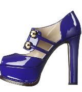 Moschino漆皮蓝色高跟鞋