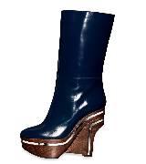 Marni霓蓝色木质坡跟长靴