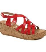 DKNY红色厚底坡跟鞋