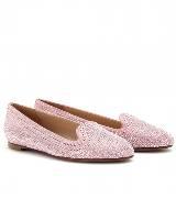 华伦天奴(Valentino)粉色水钻乐福鞋