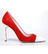 Manolo Blahnik红色编织拼接白色皮革浅口高跟鞋