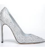 Manolo blahnik镶饰银色浅口高跟鞋