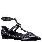 Valentino华伦天奴NOIR系列黑色真皮平底罗马鞋