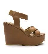 MANGO土黄色皮革坡跟鞋