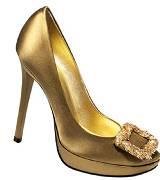 Roger Vivier圣诞金色麦穗系列金色高跟鞋