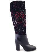 Ralph Lauren拉夫·劳伦2013秋季系列绣花拼接黑色及膝长靴
