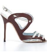 Manolo Blahnik咖啡色造型弧线高跟凉鞋