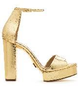 Michael Kors金色蟒蛇纹粗高跟凉鞋