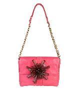 Marc Jacobs粉色珠片大花链条包