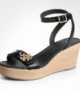 Tory Burch 2012早秋黑色厚底坡跟凉鞋