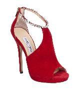 Jimmy Choo2013水晶系带红色绒面露趾超高跟鞋