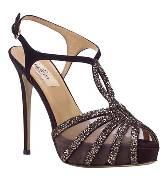 valentino garavani黑色不规则铆钉装饰高跟鞋