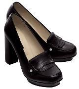 Longchamp黑色皮革高跟鞋