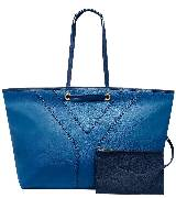 Yves Saint Laurent NEO DOUBLE靛蓝色中号小牛皮购物包