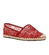 Valentino红色蕾丝草编鞋