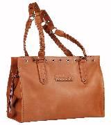 Kate Moss for Longchamp编带饰蜡面皮革棕色肩包