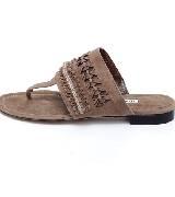 Manolo Blahnik皮革编织宽面夹脚凉鞋