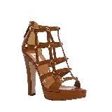 Valentino棕色铆钉高跟凉鞋