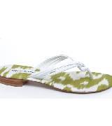 Manolo Blahnik白色绑带印花内底夹脚凉鞋