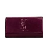 圣罗兰YSL暗紫色漆皮钱包