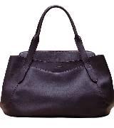 Lancel兰姿绛紫色皮质手拎包