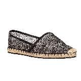 Valentino黑色蕾丝草编鞋
