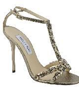 Jimmy Choo2013金色光面皮质水晶装饰细带凉鞋