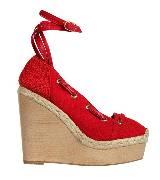 Hermes红色坡跟鞋