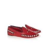 Tory Burch汤丽柏琦红色刺绣皮质乐福鞋