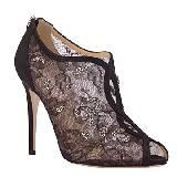valentino garavani黑色蕾丝及踝靴
