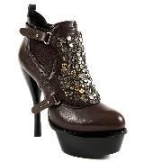 DKNY铆钉饰水台底棕色高跟靴