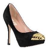 Valentino华伦天奴黑色绒面金属头高跟鞋