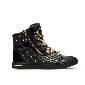 Michael Kors黑色皮质铆钉高帮運動鞋