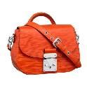Louis Vuitton橘红色皮革搭扣单肩包