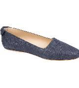 Longchamp蓝色编织平底鞋