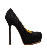 圣罗兰YSL黑色金属丝高跟鞋