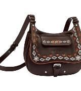 Longchamp珑骧棕色刺绣单肩包