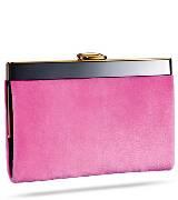 Roger vivier荧光粉红色貂皮手拿包