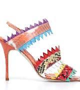 Manolo Blahnik多色拼接印花纹理高跟凉鞋