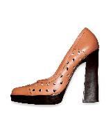Marni蜜柑色牛皮柱跟鞋